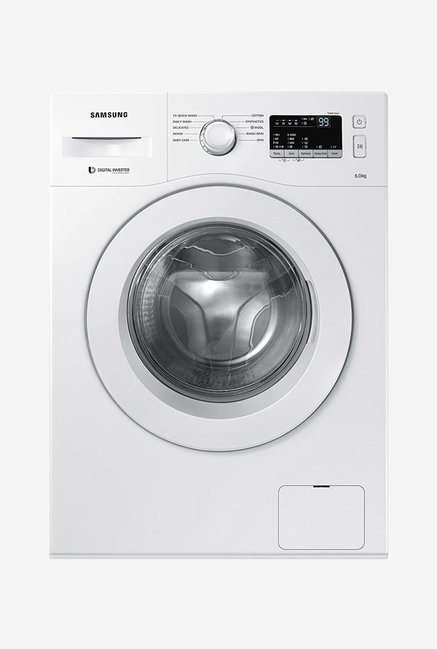 Samsung WW60M206LMW/TL 6 kg Front Loading Fully Automatic Washing Machine  White  Samsung Electronics TATA CLIQ