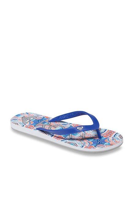 aa46b4cb1d3 Buy Roxy Tahiti V Blue   White Flip Flops for Women at Best Price ...