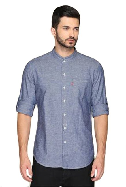 496a17e2d9 Buy Levi's Full Sleeves Solid Blue Shirt Online @ Tata CLiQ