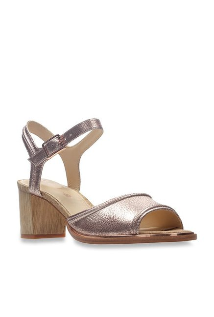 aa9ad52f32d1 Buy Clarks Ellis Rose Gold Ankle Strap Sandals for Women at Best Price    Tata CLiQ