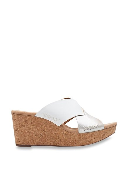 36f859c86ee Buy Clarks Annadel Danae Silver Cross Strap Wedges for Women at Best ...