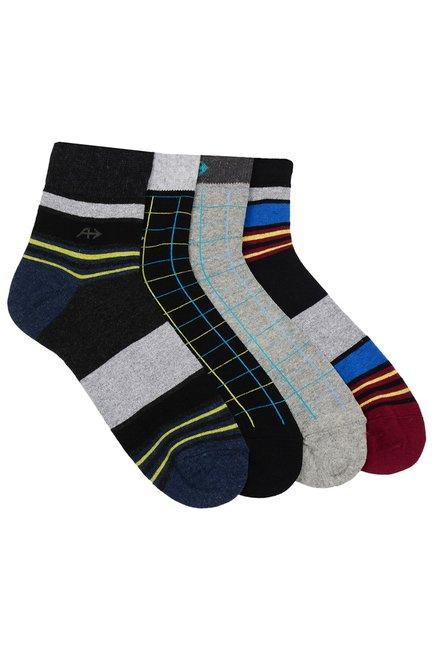 Arrow Black Light Grey Ankle Length Socks Pack Of 4 For Men Online Tata Cliq
