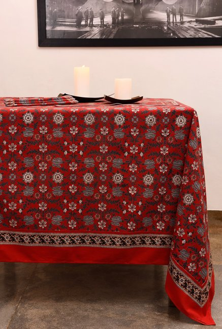 055d71eb9 Buy The Shop Red   Grey Floral Cotton Table Cloth Online At Best Price    Tata CLiQ