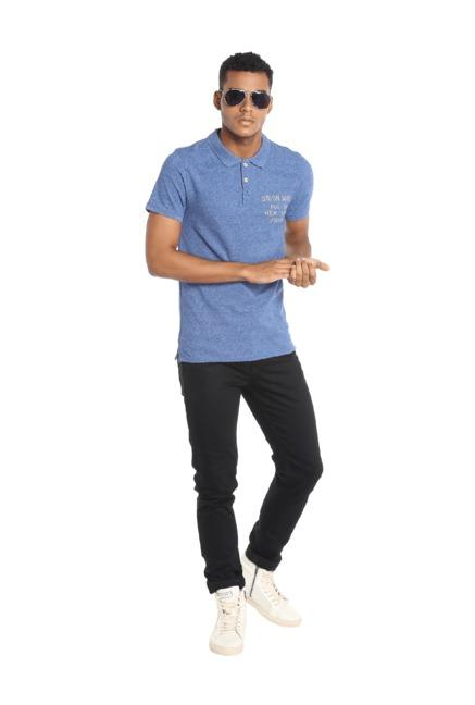5f8e39fc Buy Jack & Jones Blue Slim Fit Polo T-Shirt for Men Online @ Tata CLiQ