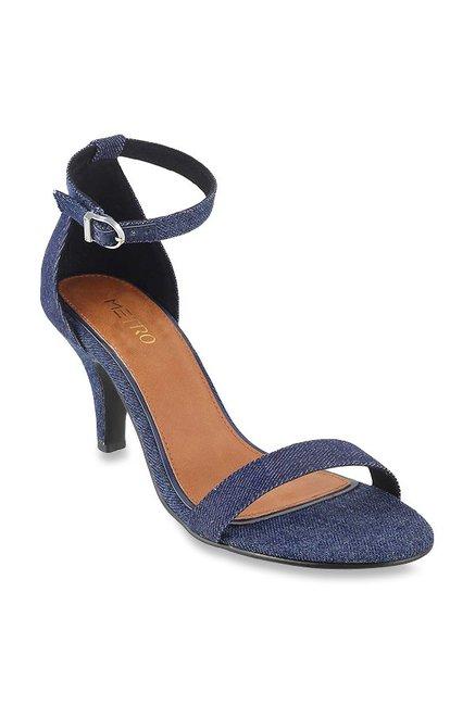 44cdb7b1a Buy Metro Denim Blue Ankle Strap Stilettos for Women at Best Price   Tata  CLiQ