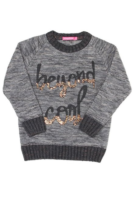 9a1fdf8b5 Buy Wingsfield Kids Grey Embellished Sweater for Girls Clothing ...