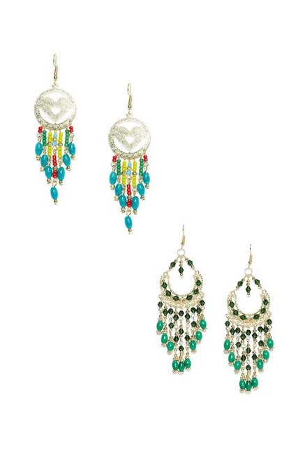 ZeroKaata Silver Alloy Dangler Earrings - Set of 2