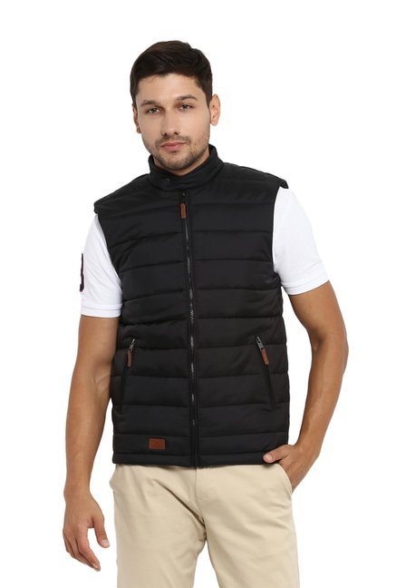 5c699aec963b8 Buy Red Tape Black Sleeveless Jacket for Men Online   Tata CLiQ
