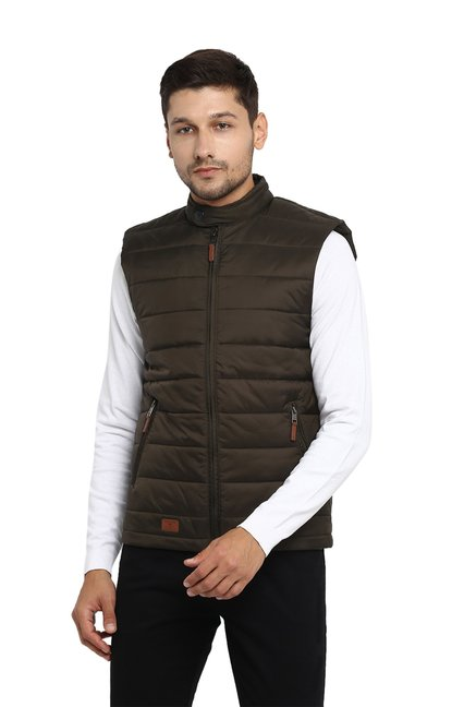 ee1a924273419 Buy Red Tape Olive Sleeveless Jacket for Men Online   Tata CLiQ