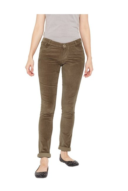 5259eb1dd0acd Buy Xpose Khaki Slim Fit Flat Front Trousers for Women Online @ Tata CLiQ