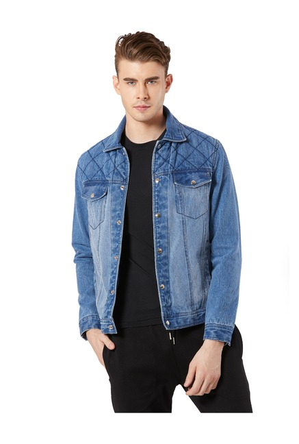ce24bf1a118f Buy Merlot Blue Full Sleeves Denim Jacket for Men Online   Tata CLiQ
