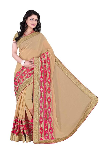 Aasvaa Beige Embroidered Chiffon Saree