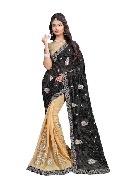 Aasvaa Black Embroidered Georgette & Chiffon Saree