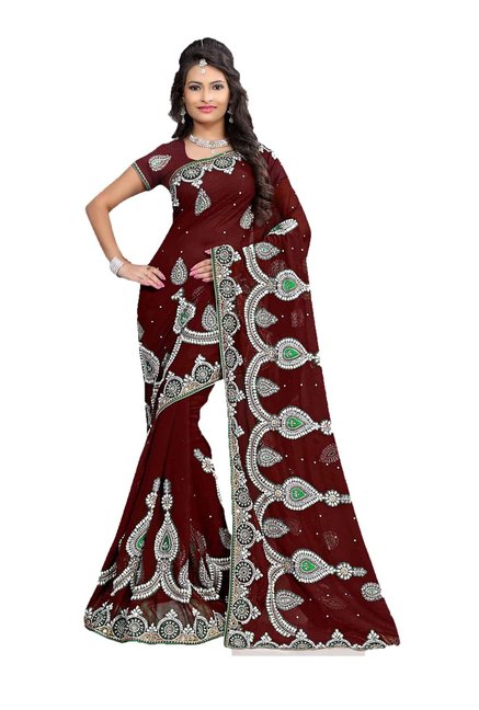 Aasvaa Maroon Embroidered Chiffon Saree