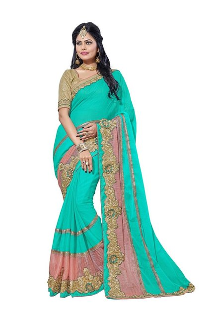 Aasvaa Turquoise Embroidered Chiffon Saree