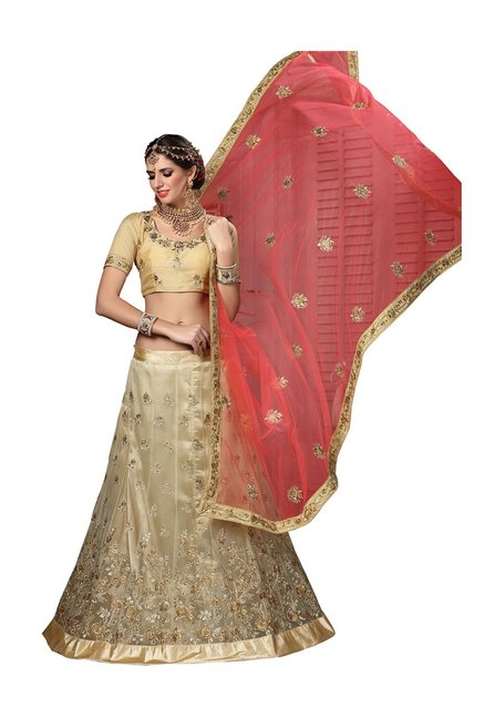 f2457faa357 Buy Aasvaa Beige Net Semi-Stitched Lehenga Choli for Women Online   Tata  CLiQ