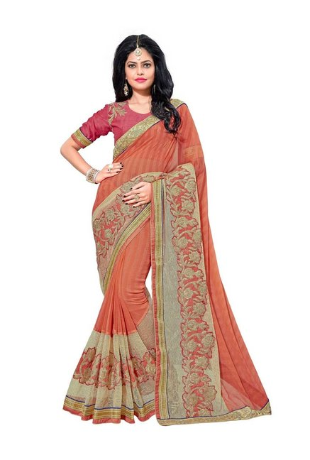 Aasvaa Orange Chiffon Saree With Blouse