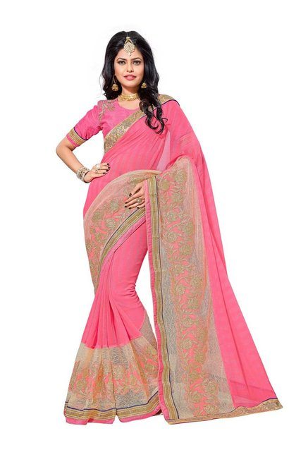 Aasvaa Pink Chiffon Saree With Blouse