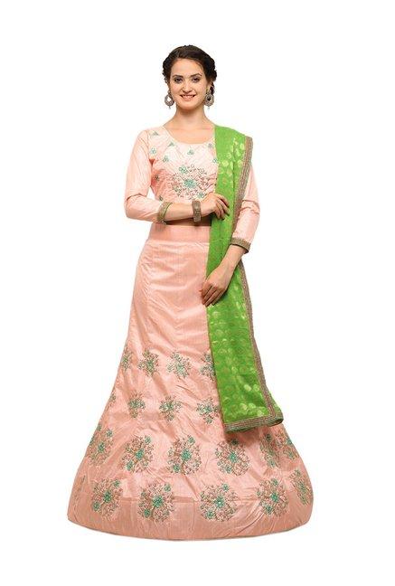 b154fb2b6 Buy Aasvaa Peach Silk Semi-Stitched Lehenga Choli for Women ...