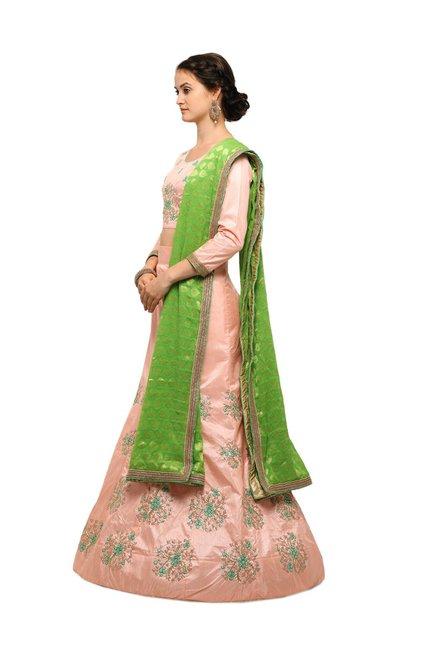 b2edb04c6 Buy Aasvaa Peach Silk Semi-Stitched Lehenga Choli for Women Online ...