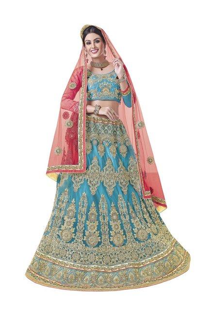 1ca535d2e1 Buy Aasvaa Sky Blue Embroidered Net Lehenga Choli for Women Online @ Tata  CLiQ