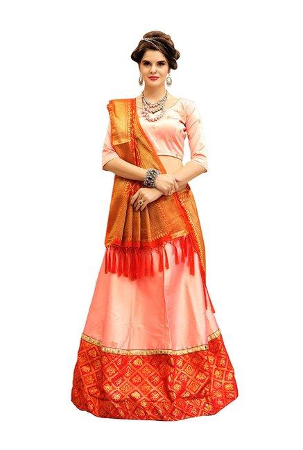 e71a6e9de Buy Aasvaa Peach Tifi Silk Semi-Stitched Lehenga Choli for Women Online    Tata CLiQ