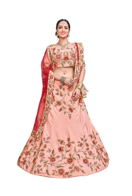 78a64841d Buy Aasvaa Peach Pure Silk Semi-Stitched Lehenga Choli for Women Online    Tata CLiQ