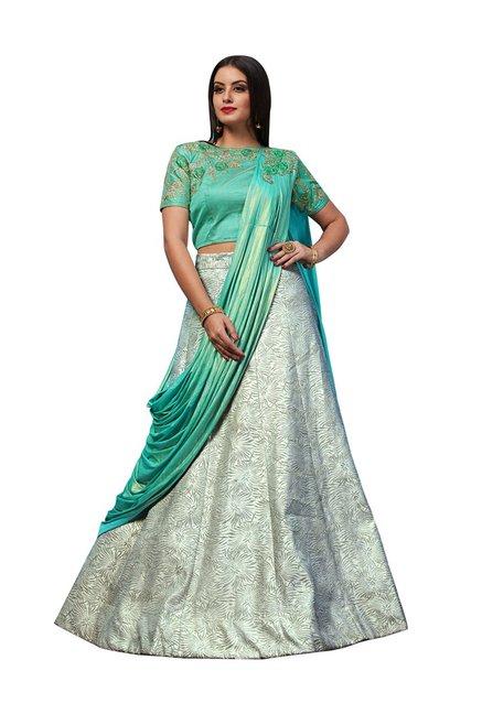 df2d3c7dfb Buy Aasvaa Green Jacquard Semi-Stitched Lehenga Choli for Women Online @  Tata CLiQ