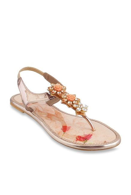 1643e8140e85 Buy Mochi Rose Gold T-Strap Sandals for Women at Best Price ...