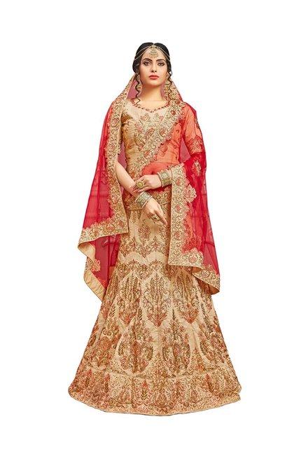 805c35687fe Buy Aasvaa Beige Pure Silk Semi-Stitched Lehenga Choli for Women ...