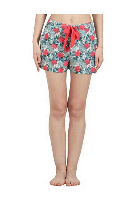 5a2c10a020 Buy Mystere Paris Green Floral Print Shorts for Women Online   Tata CLiQ