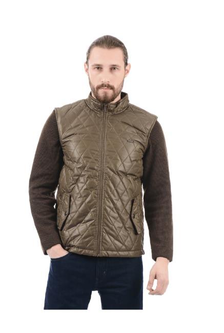 5e996430c6ee Buy Flying Machine Brown Sleeveless Jacket for Men Online   Tata CLiQ