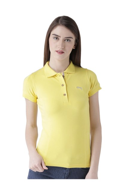 7e886437 Buy Jump USA Yellow Short Sleeves Polo T-Shirt for Women Online ...