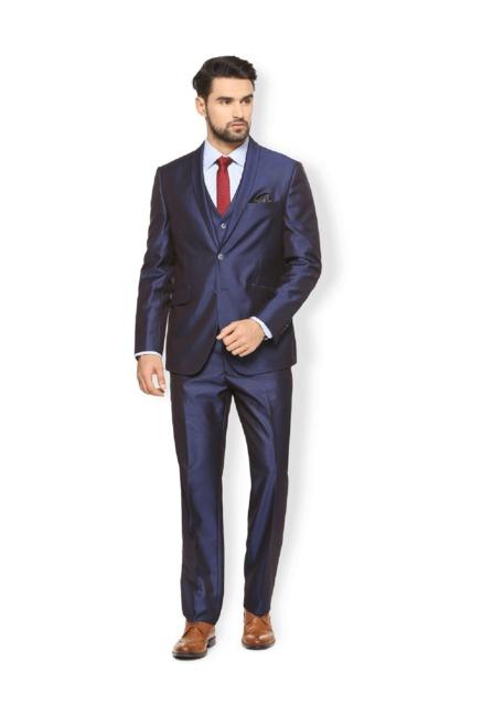 20337963635 Buy Van Heusen Blue Full Sleeves Three Piece Suit for Men Online   Tata CLiQ