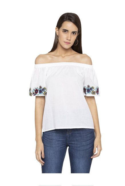 57e50f69372df2 Buy Globus White Embroidered Off Shoulder Top for Women Online   Tata CLiQ