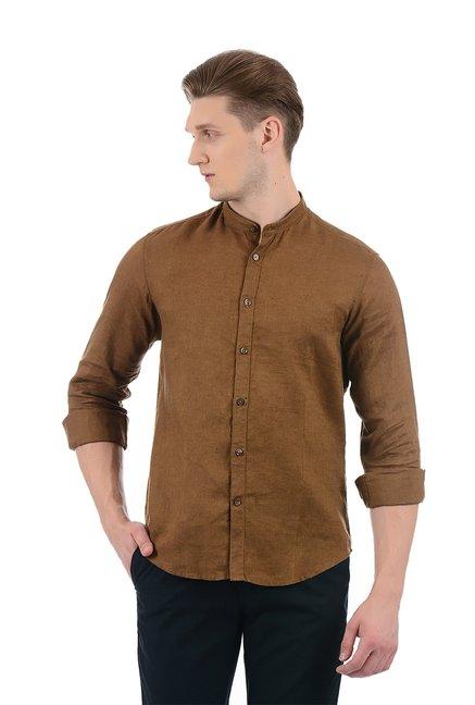 2c11937be6 Buy Indian Terrain Brown Regular Fit Linen Shirt for Men Online ...