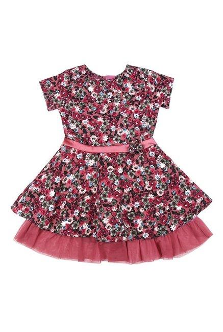 672b505a08425 Buy Palm Tree by Gini & Jony Kids Pink Printed Dress for Girls Clothing  Online @ Tata CLiQ