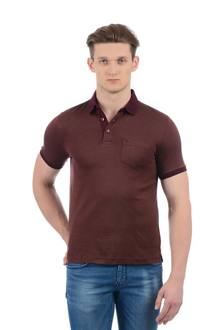 b192c4bb Buy Indian Terrain Maroon Cotton Regular Fit Polo T-Shirt for Men ...