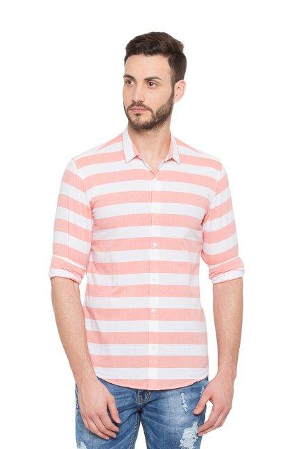 e9b5a032a2b Buy Globus Peach Full Sleeves Striped Shirt for Men Online   Tata CLiQ