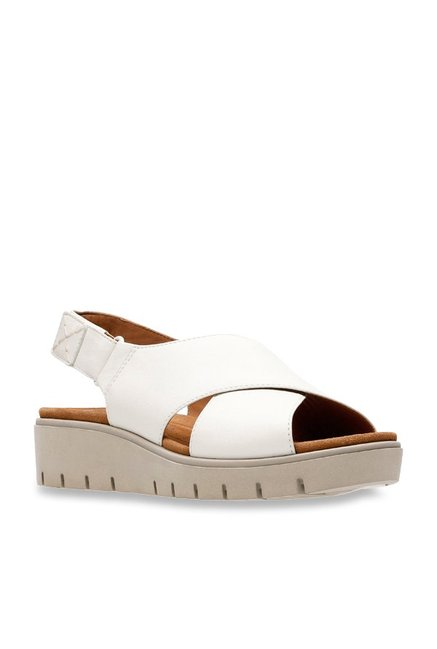 41c1c30171af Buy Clarks Un Karely Hail White Back Strap Sandals for Women at Best Price    Tata CLiQ