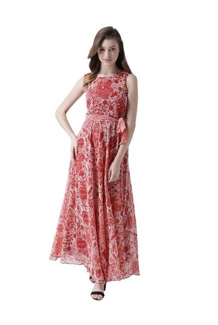 03cb33d2887 Buy MsFQ Red Printed Maxi Dress for Women Online   Tata CLiQ