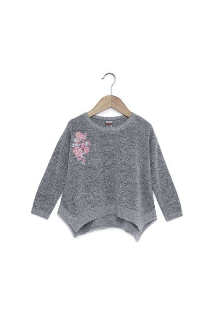 7cc460264a8f4c Buy HOP Kids by Westside Grey Melange Embroidered Sweater for Girls Clothing  Online   Tata CLiQ