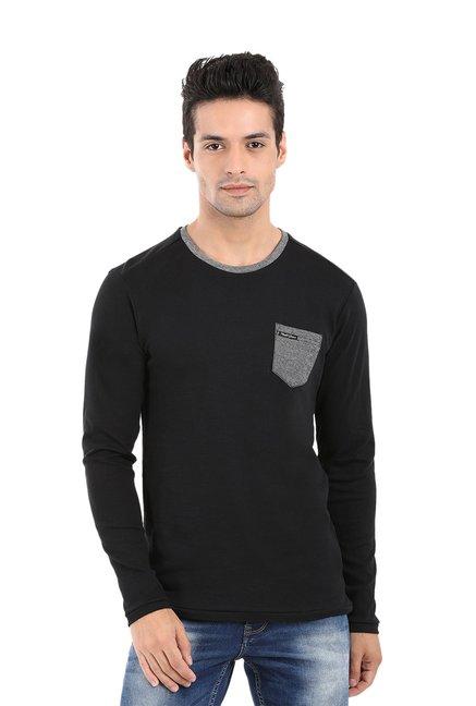 4085fd8a Buy Mufti Black Round Neck T-Shirt for Men Online @ Tata CLiQ