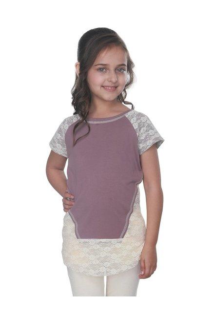 a09109ffe0d075 Buy Cutecumber Kids Mauve Lace Top for Girls Clothing Online   Tata CLiQ