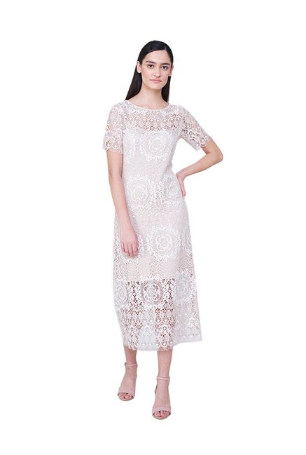 9390cee83bab4 Buy AND Beige Lace Midi Dress for Women Online @ Tata CLiQ