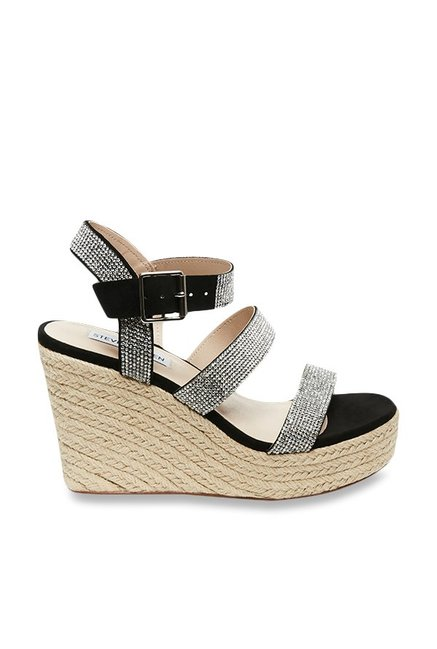 f883a5a4fa3 Buy Steve Madden Valery-R Black   Silver Espadrille Wedges for Women ...
