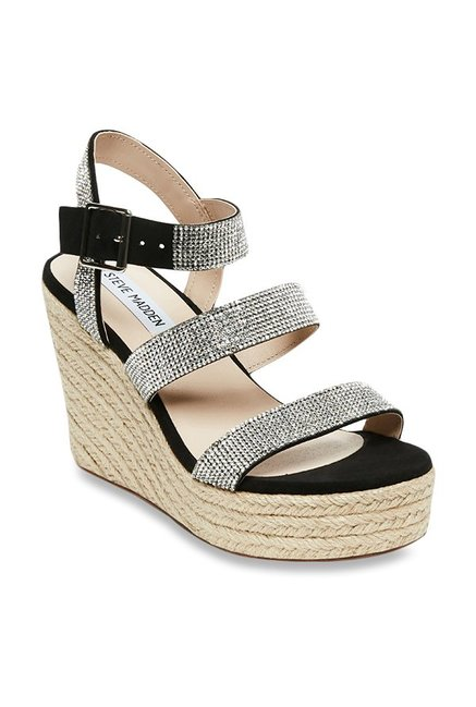 09cad0270c4 Buy Steve Madden Valery-R Black   Silver Espadrille Wedges for Women at Best  Price   Tata CLiQ