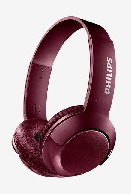 Philips SHB3075RD00 On The Ear Wireless Headphones With Mic  Red