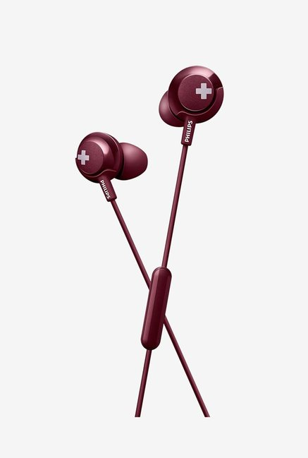 Philips She4305Rd00 Wired Earphones With Mic  Red