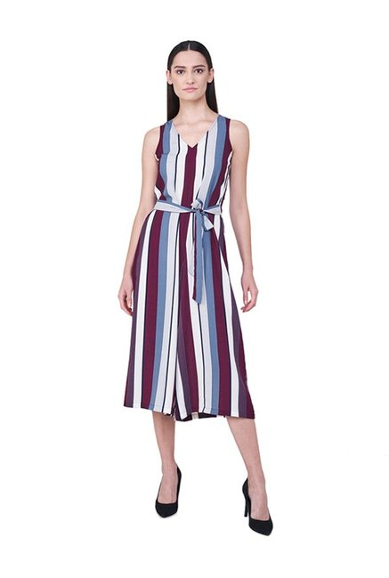 Buy And Multicolor Striped Below Knee Jumpsuit For Women Online